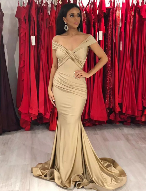 Popular Mermaid Off the Shoulder Long Prom Dress Champagne Evening Gown - ericprom