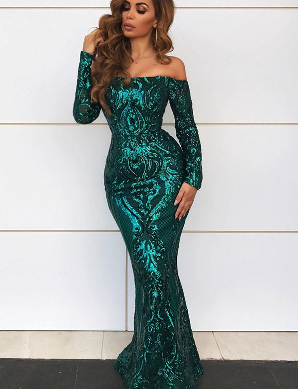 Amazing Mermaid Off the Shoulder Prom Dress Green Sequin Evening Dress - ericprom