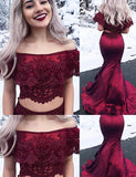 Amazing Two Piece Off the Shoulder Long Burgundy Prom Dress with Appliques - ericprom