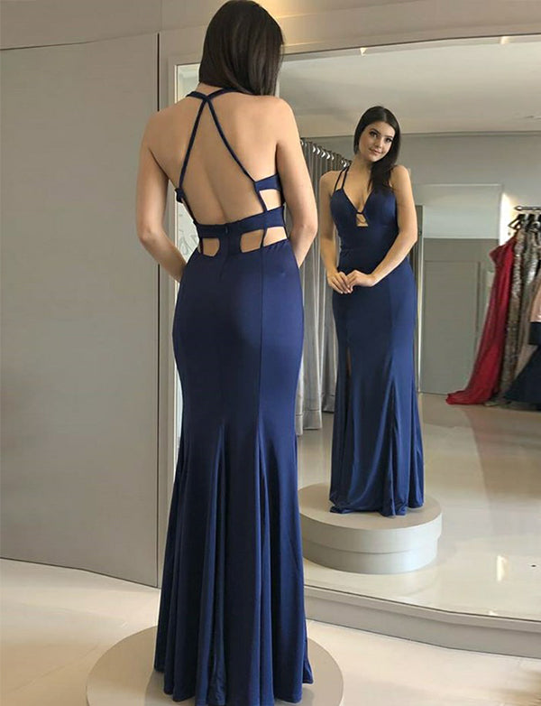 Beautiful Mermaid Spaghetti Straps Open Back Long Blue Prom Dress with Split - ericprom