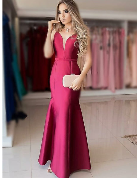 Elegant Long V Neck Burgundy Evening Dress Sleeveless Mermaid Prom Dress