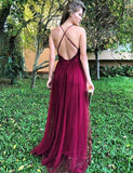 Popular Spaghetti Straps Long Criss-Cross Straps Burgundy Prom Dress with Sequin - ericprom