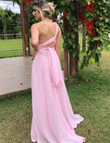 Fashion One Shoulder Chiffon Backless Long Pink Prom Dress with Split - ericprom