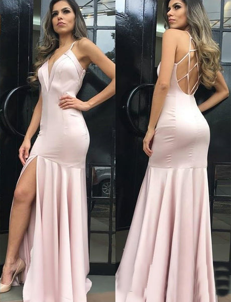 Pretty Spaghetti Straps Open Back Long Pink Mermaid Prom Dress with Split