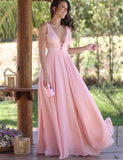Simple V-Neck Sleeveless Chiffon Long Prom Dress Pink Bridesmaid Dress