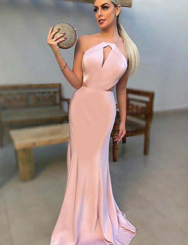 Affordable Halter Mermaid Evening Dress with Keyhole Pink Prom Dress - ericprom