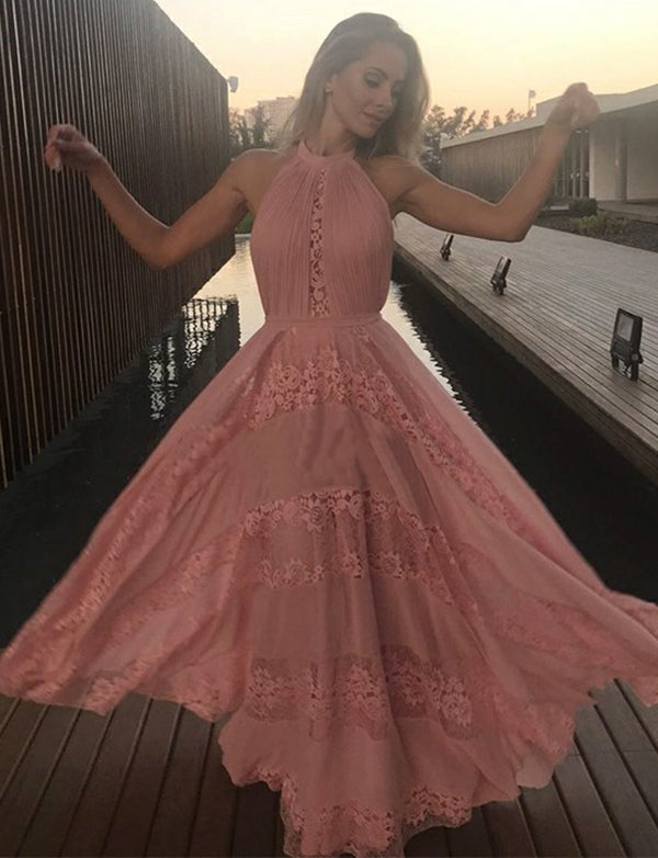 Beautiful A Line Halter Floor Length Sleeveless Pink Prom Dress with Appliques - ericprom