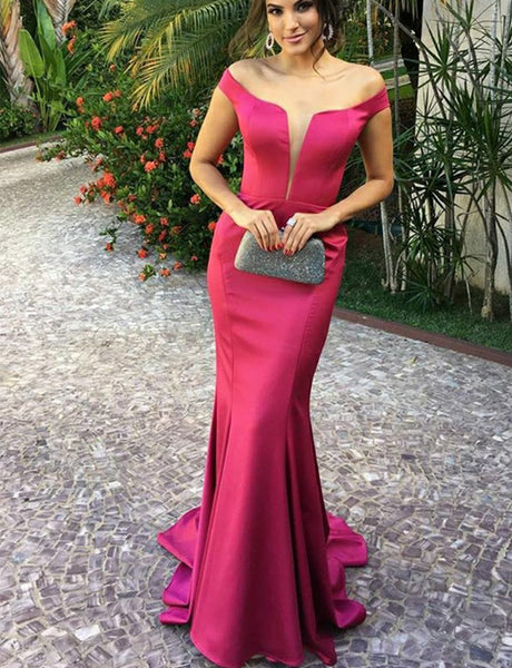 Fitted Off-the-Shoulder Fuchsia Long Prom Dress Mermaid Evening Gown