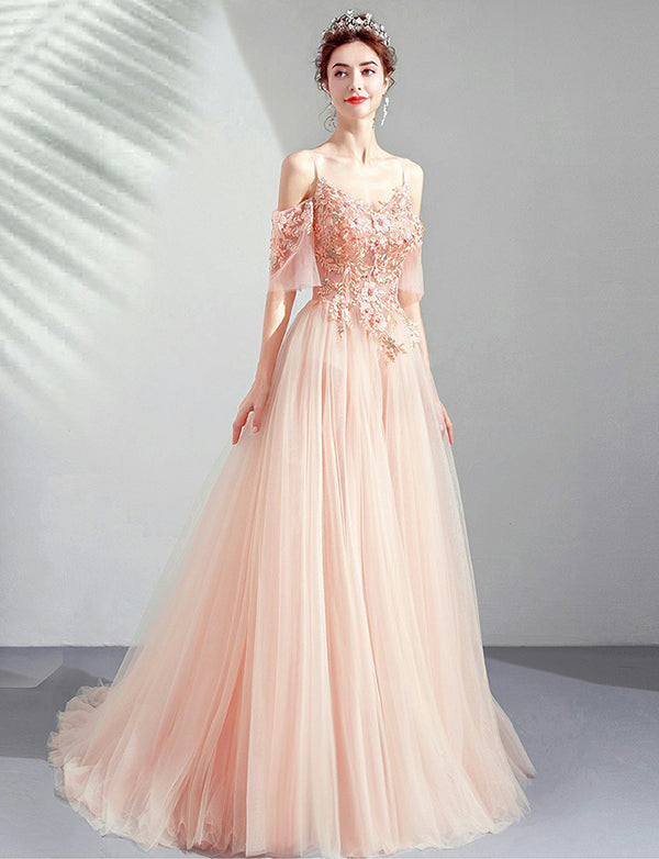 Chic Spaghetti Straps Pink Prom Dress with Appliques Peals Long Evening Gown - ericprom