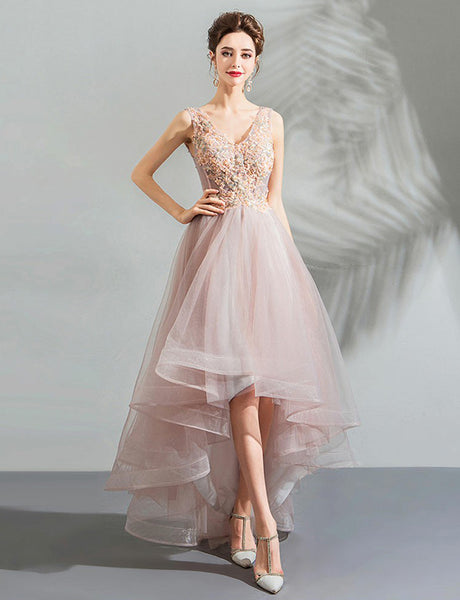 V-Neck High Low Homecoming Dress with Appliques Pink Prom Dress