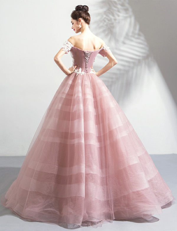 Ball Gown Off the Shoulder Long Prom Dress with Appliques Pink Evening Gown - ericprom