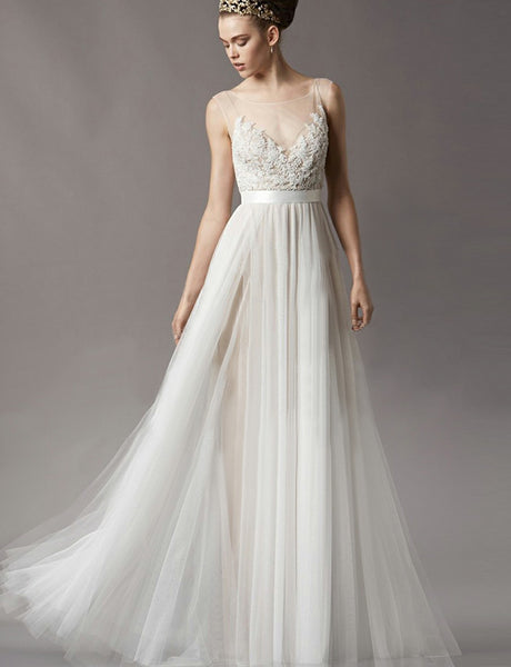 Crew Sleeveless White Button Back Simple Wedding Dress with Appliques Beading