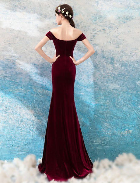 Off-the-Shoulder Burgundy Prom Dress with Split Mermaid Evening Dress