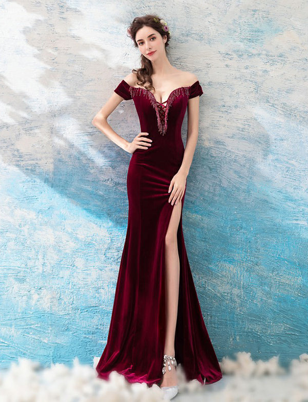 Off-the-Shoulder Burgundy Prom Dress with Split Mermaid Evening Dress - ericprom