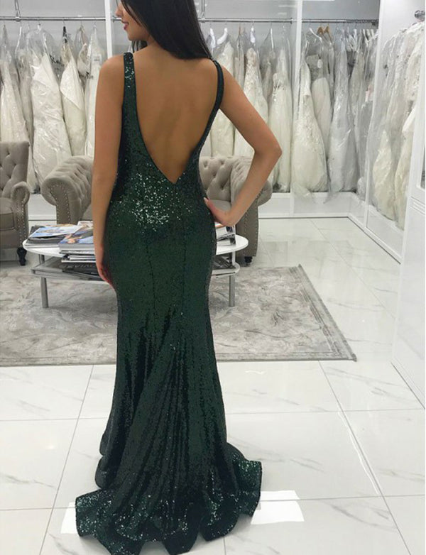 V-Neck Long Dark Green Mermaid Prom Dress Sequin Backless Evening Dress - ericprom