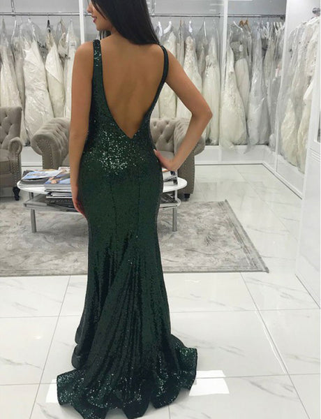 V-Neck Long Dark Green Mermaid Prom Dress Sequin Backless Evening Dress