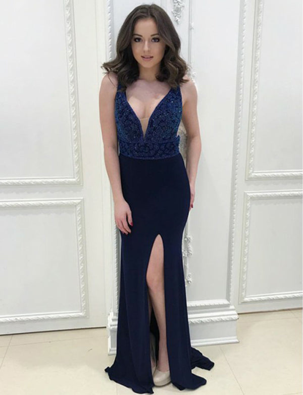 Fashion V-Neck Navy Blue Prom Dress with Beading Appliques Evening Gown - ericprom