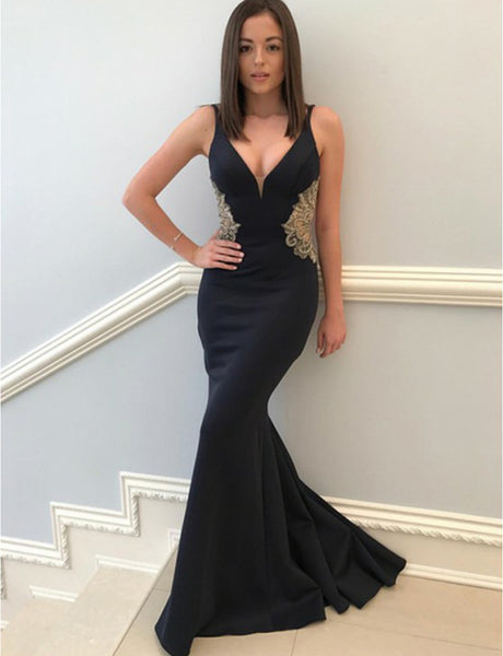 Spaghetti Straps Mermaid Prom Dress with Appliques Dark Navy Evening Gown