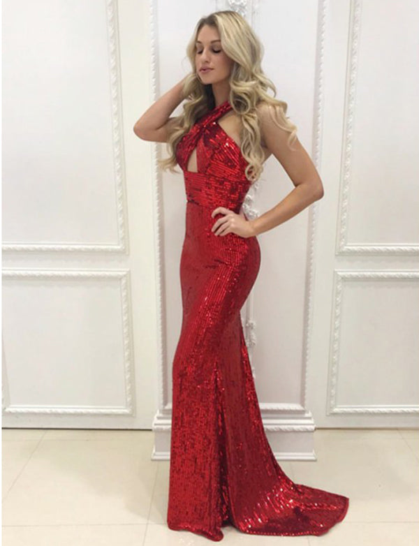 Halter Sheath Long Sequin Evening Dress with Keyhole Red Prom Dress - ericprom