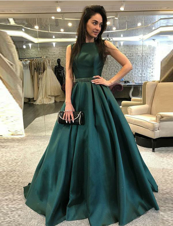 Chic Bateau Sleeveless Long Dark Green Evening Dress with Beading Prom Dress - ericprom
