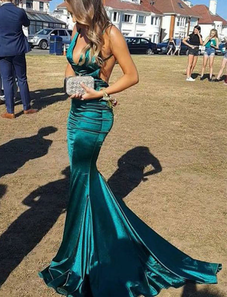 Spaghetti Straps Long Backless Turquoise Mermaid Prom Dress with Ruched