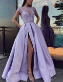 Jewel Open Back Lilac Long Evening Dress with Sleeves Split Beading Prom Dress - ericprom