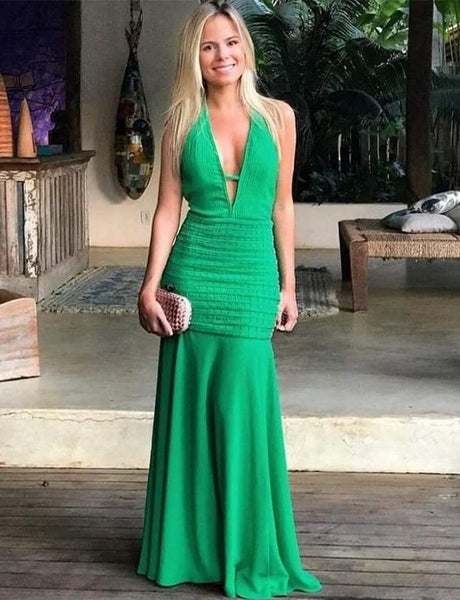Affordable Chic Mermaid V-Neck Sleeveless Chiffon Long Green Prom Dress