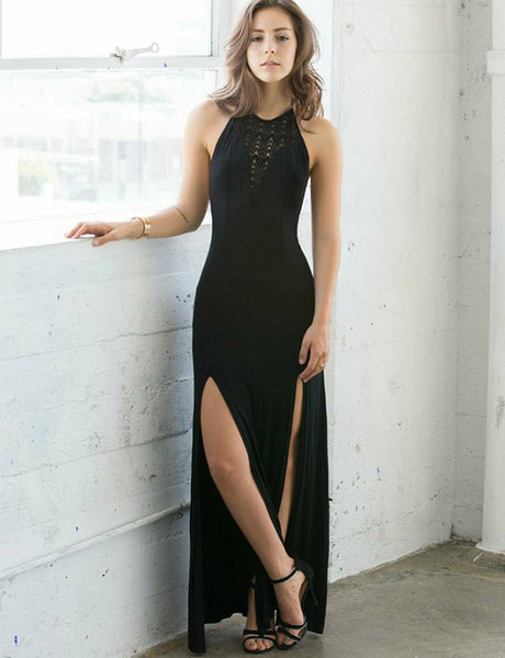 Beautiful Sheath Halter Long Black Prom Dress with Split Under 100