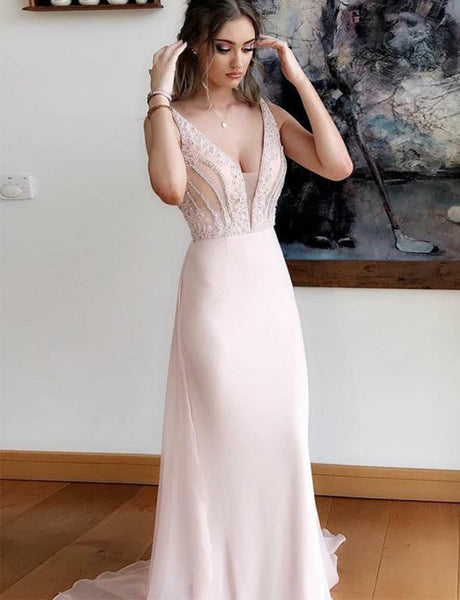 Popular V-Neck Pink Prom Dress with Beading Long Mermaid Evening Dress
