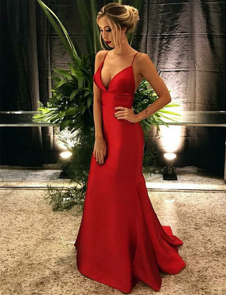 Simple Mermaid Spaghetti Straps Sleeveless Sweep Train Red Prom Dress