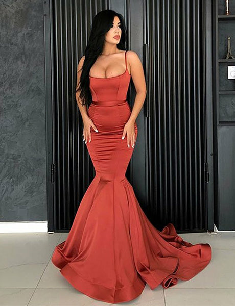 Charming Spaghetti Straps Sleeveless Coral Long Mermaid Prom Dress