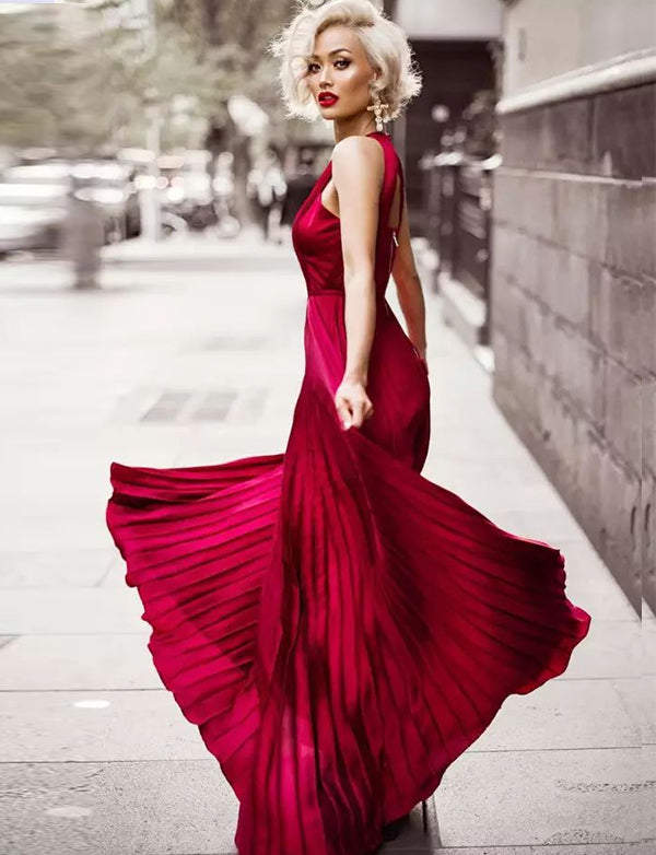 Modest Jewel Open Back Chiffon Long Burgundy Prom Dress with Pleats - ericprom