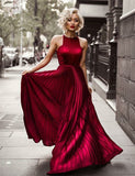 A-Line Open Back Long Burgundy Prom Dress
