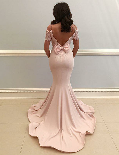 Spaghetti Straps Pearl Pink Prom Dress with Lace Mermaid Evening Dress