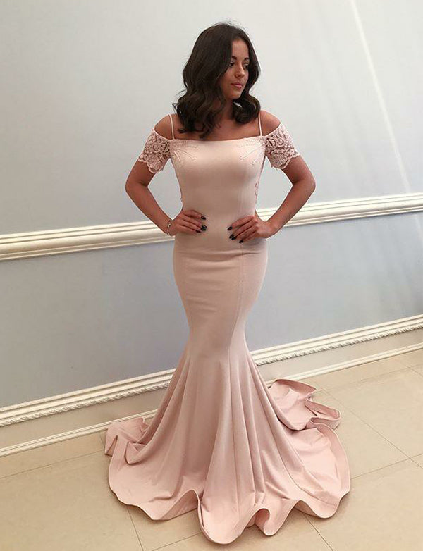 Spaghetti Straps Pearl Pink Prom Dress with Lace Mermaid Evening Dress - ericprom