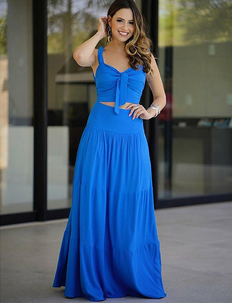Stunning Two Piece Straps Side Zipper Long Blue Prom Dress with Keyhole