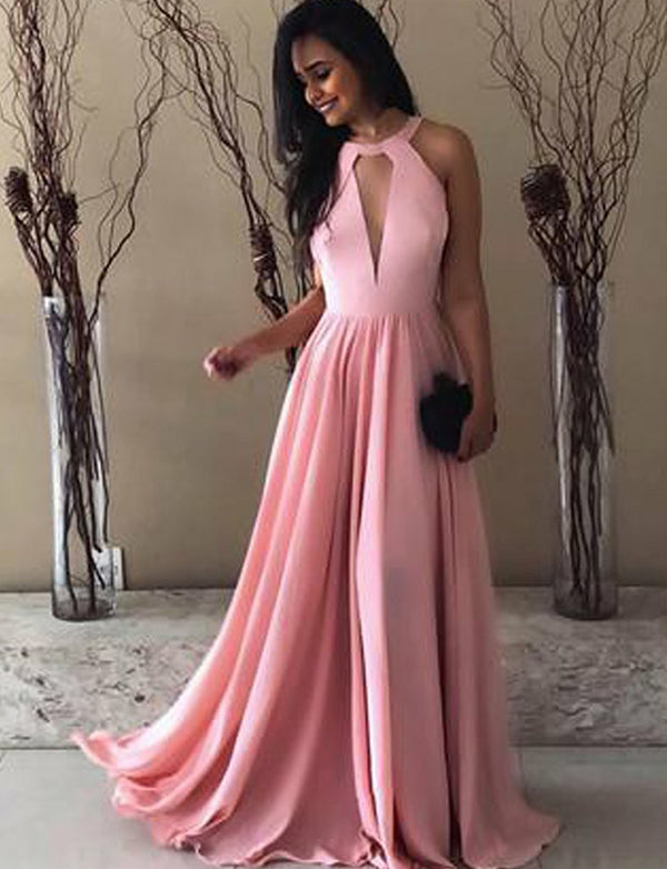 Popular Halter Backless Sleeveless Long Pink Prom Dress with Keyhole - ericprom