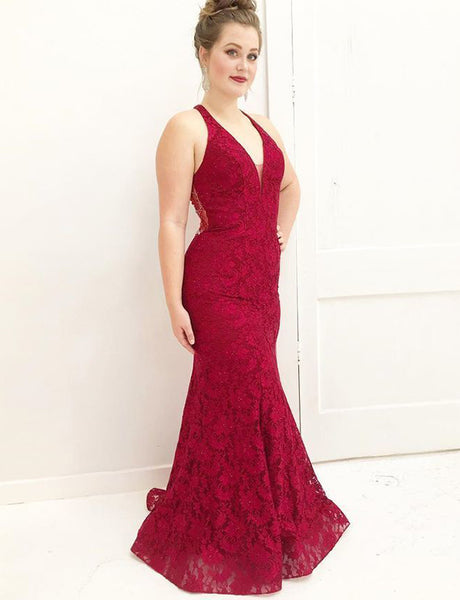 Elegant V-Neck Mermaid Sleeveless Long Lace Red Prom Dress with Beading