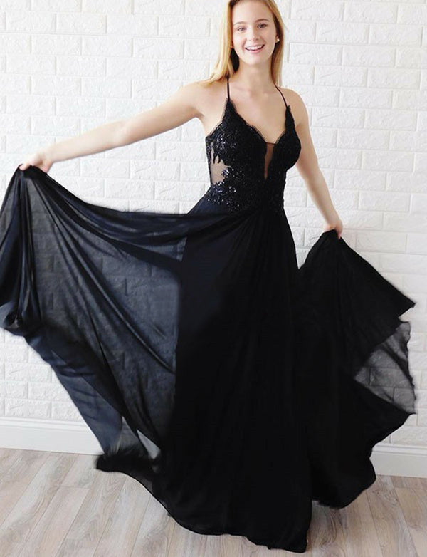 Sparkly Spaghetti Straps Long Black Prom Dress with Appliques Beading - ericprom