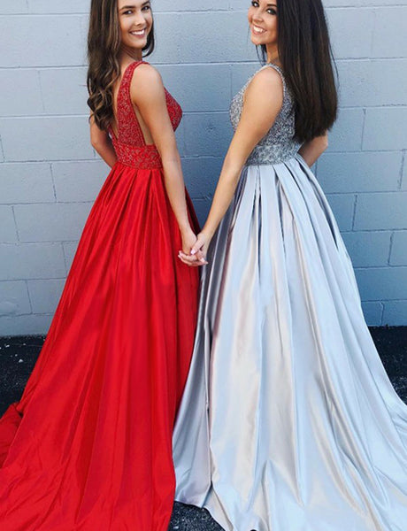 V-Neck Open Back Red Prom Dress with Beading Pockets Silver Evening Dress