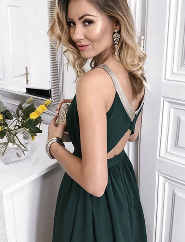 Amazing Halter Open Back Long Dark Green Prom Dress with Keyhole Split - ericprom