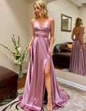 Perfect A-Line Spaghetti Straps Lilac Sleeveless Long Prom Dress with Split - ericprom