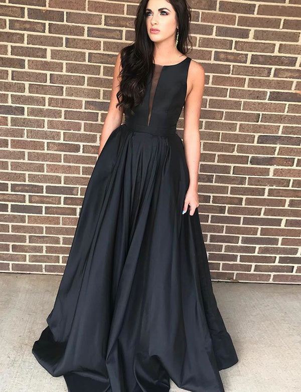Simple A Line Crew Satin Black Prom Dress Sleeveless Long Evening Gown - ericprom