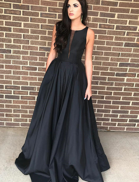 Simple A Line Crew Satin Black Prom Dress Sleeveless Long Evening Gown