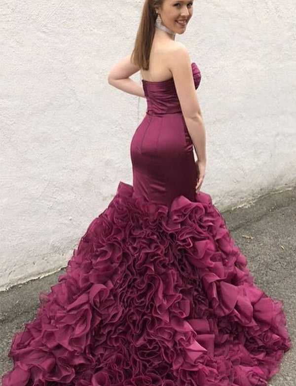Amazing Sweetheart Sleeveless Grape Long Mermaid Prom Dress with Ruffles - ericprom