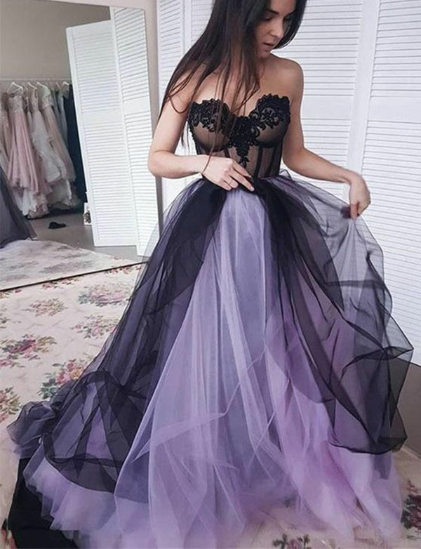 Fashion Sweetheart Long Tulle Sleeveless Lilac Prom Dress with Appliques - ericprom