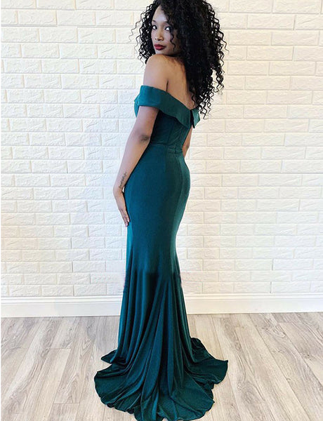 Charming Off the Shoulder Short Sleeves Turquoise Long Mermaid Prom Dress