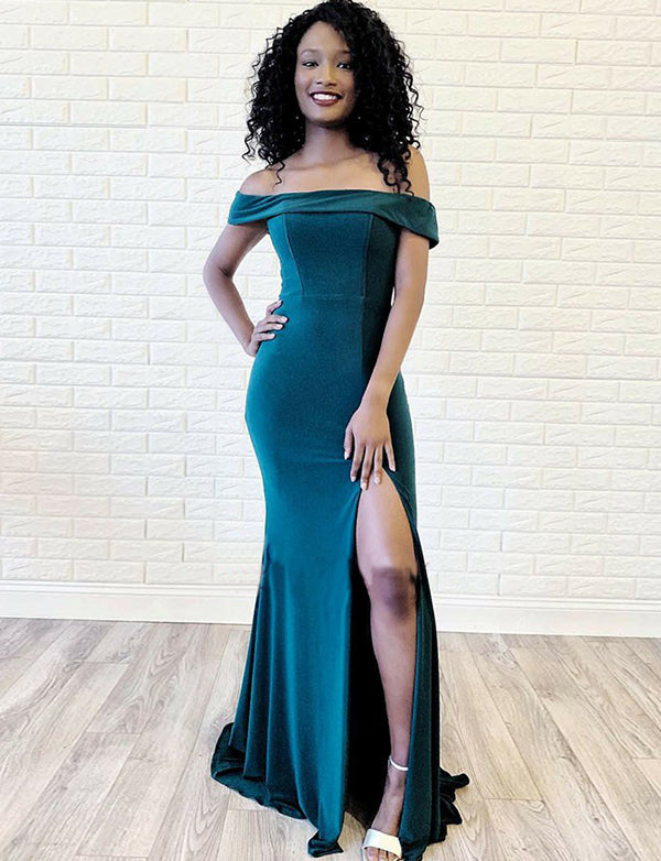 Charming Off the Shoulder Short Sleeves Turquoise Long Mermaid Prom Dress - ericprom