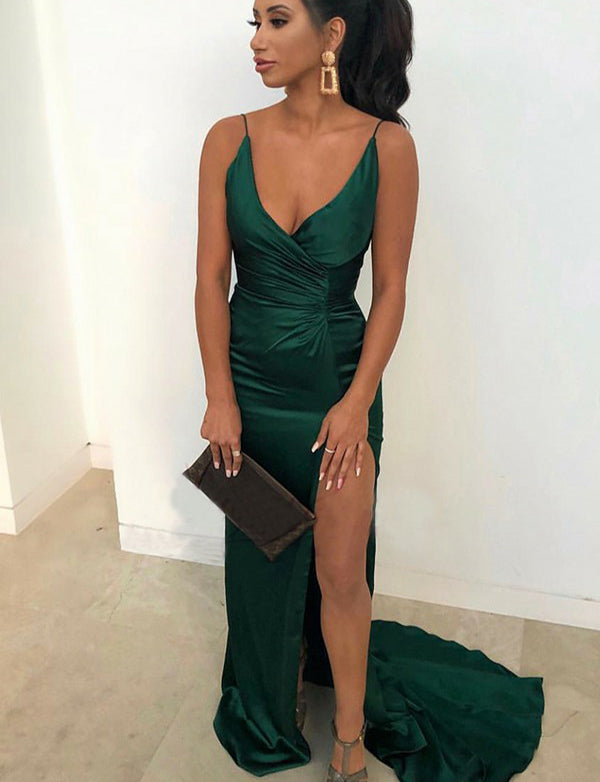Unique Spaghetti Straps Long Backless Dark Green Prom Dress with Split - ericprom