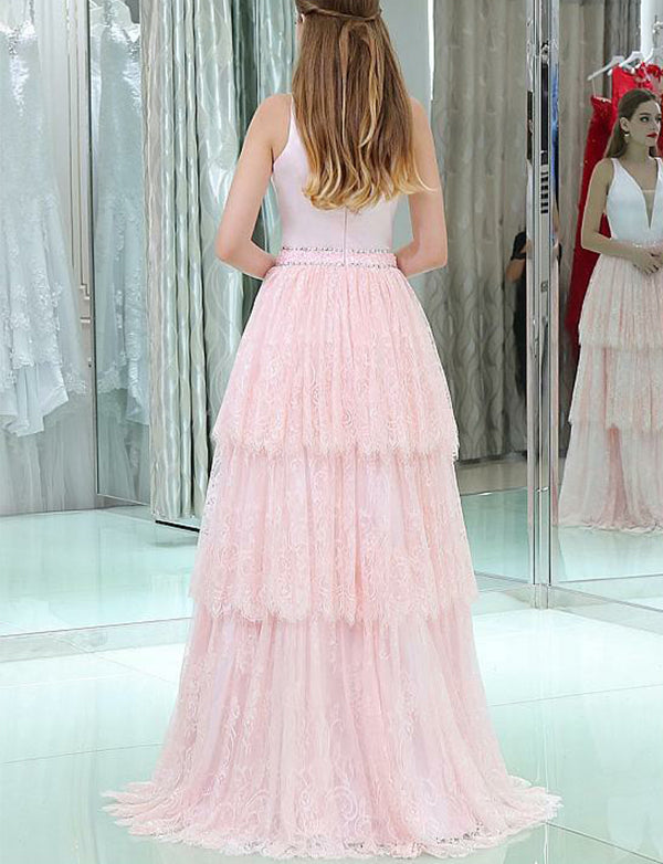 Elegant V-Neck Sleeveless Lace Prom Gown Long Pink Prom Dress with Beading Tiered - ericprom